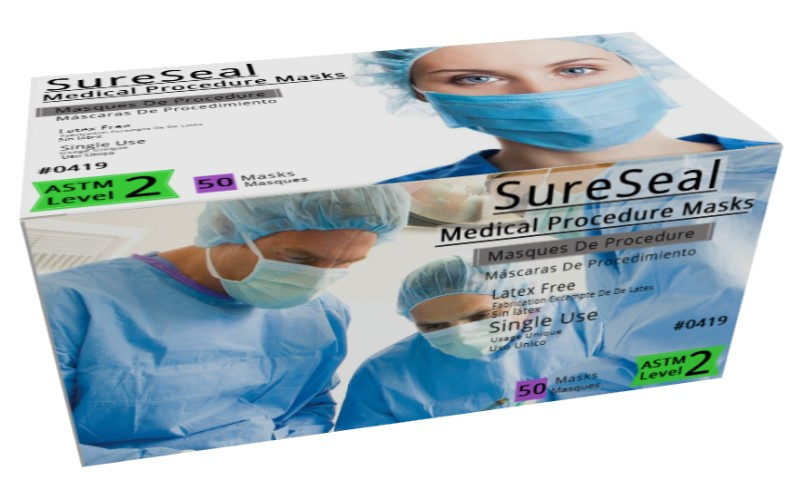 Sure Seal ASTM Level 2 Medical Ear-Loop Disposable Face Mask