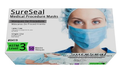 Sure Seal ASTM Level 3 Medical Ear-Loop Disposable Face Masks Electric Blue