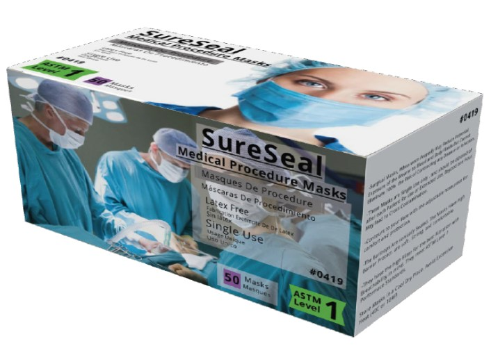 Sure Seal ASTM Level 1 Medical Ear-Loop Disposable Face Mask