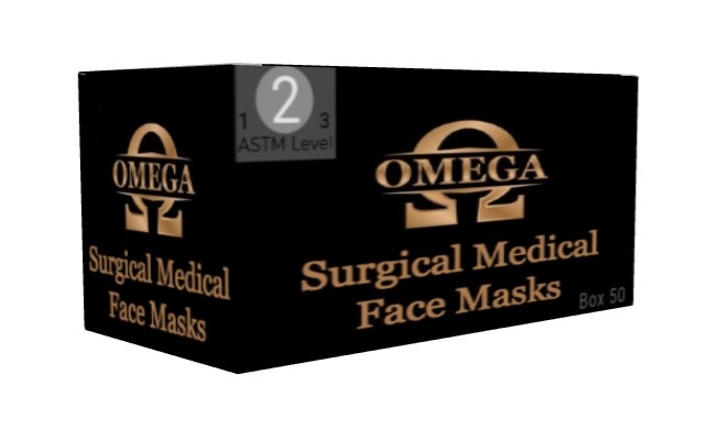 Omega ASTM Level 2 Light Blue Surgical Face Masks
