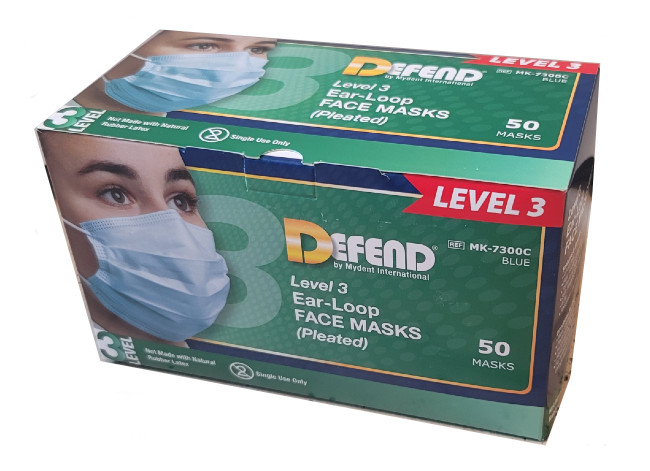 Defend ASTM Level 3 Ear-Loop Pleated Medical Face Masks From MyDent
